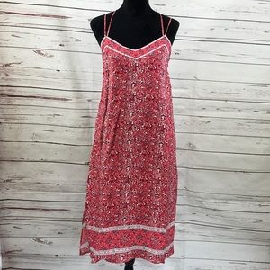 Gap Maxi Dress Sleeveless Cami Red Floral Size S